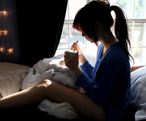 girl, bed, and light image