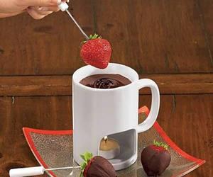 chocolate, fondue, and strawberry image
