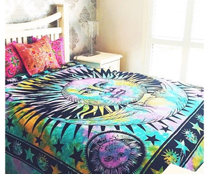 bed, bedroom, and colourful image