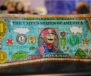 mario, money, and dollar image