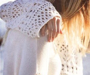 blonde, texture, and sweater image