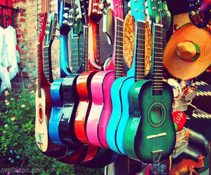 guitar, music, and colorful image