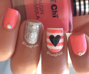 heart, glitter, and nails image