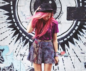girl and pink hair image