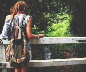 girl, nature, and bag image