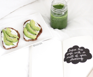 avocado, book, and food image