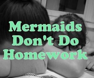 homework, mermaid, and pastel image