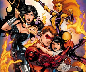 speedy, starfire, and donna troy image
