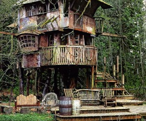 house, tree house, and treehouse image