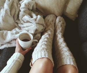 socks, coffee, and winter image