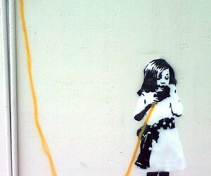 stencil art, street art, and not banksy image