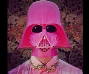 pink, darth vader, and star wars image