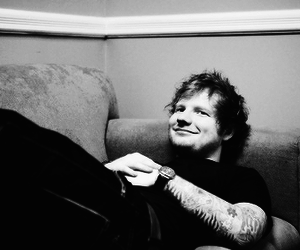 ed sheeran, black and white, and cute image