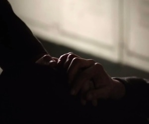 damon, elena, and hands image