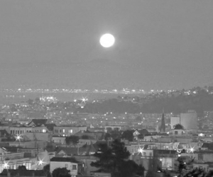 light, moon, and city image