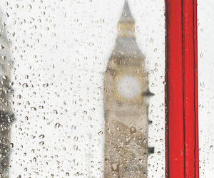 london, rain, and red image