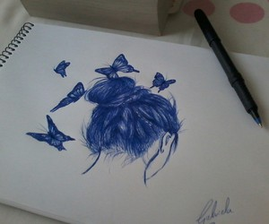 blue, books, and butterflies image