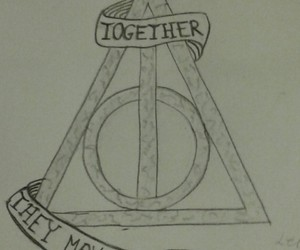 deathly hallows, drawing, and harry potter image