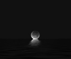 black, full moon, and sea image