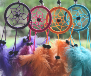 colorful, girl, and dream catcher image