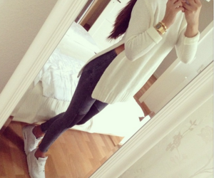 girly, white sweater, and fashion and style image