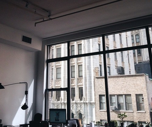 city, window, and office image