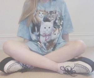 cats, girl, and t-shirt image