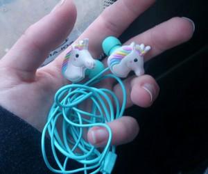 unicorn, blue, and headphones image