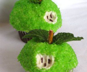 cupcake, apple, and cake image