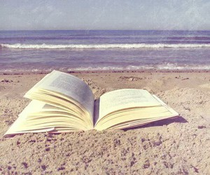 book, beach, and text image
