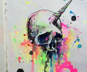 unicorn, skull, and art image