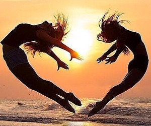 best friends and beach image