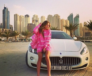 car, girl, and luxury image