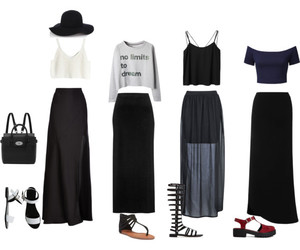 black, maxi skirt, and hat image