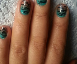 polish, zebra, and decorated nails image