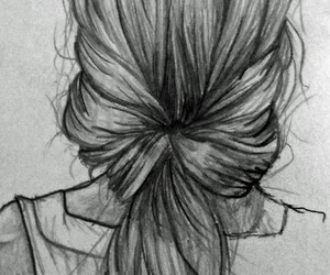 drawing, girl, and hairstyle image