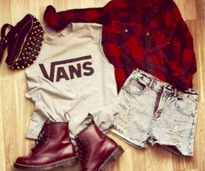 fashion, red flannel, and outfit image