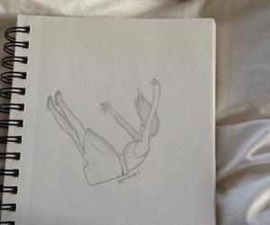 drawing, falling, and sad image