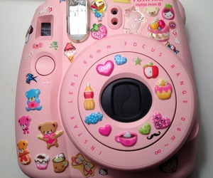 pink, camera, and sticker image