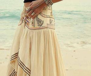 boho, beach, and skirt image