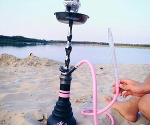 beach, pink, and shisha image