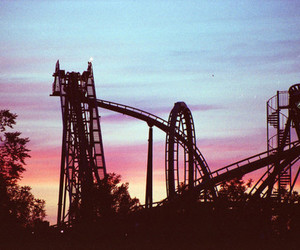 sunset, Roller Coaster, and rollercoaster image