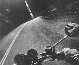 road, black and white, and motorcycle image