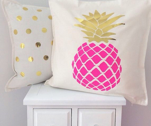 pink, gold, and pineapple image