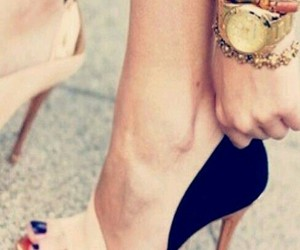 gold, high heels, and khaki image