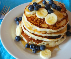pancakes, banana, and food image