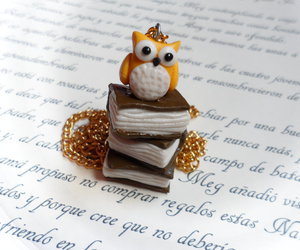 books, jewerly, and owl image