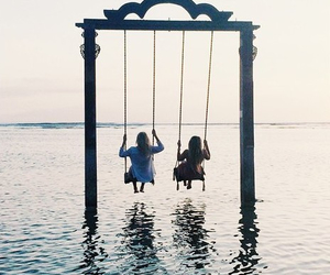 friends, sea, and water image