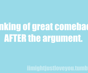 argument, text, and comeback image