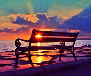 sunset, beautiful, and bench image